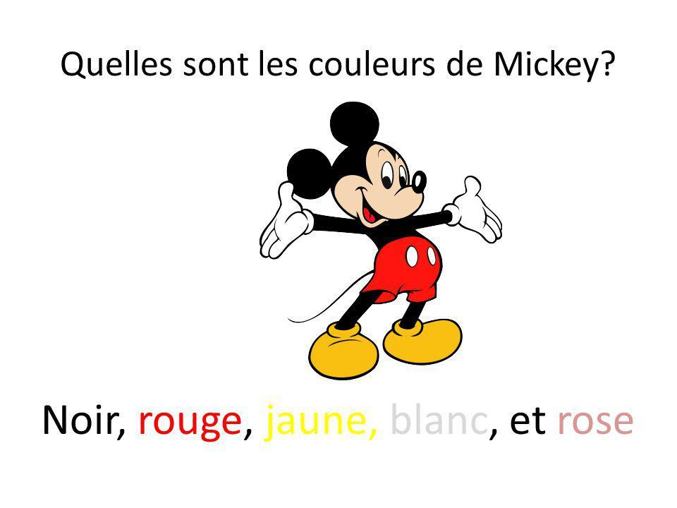 Quelles sont les couleurs de Mickey