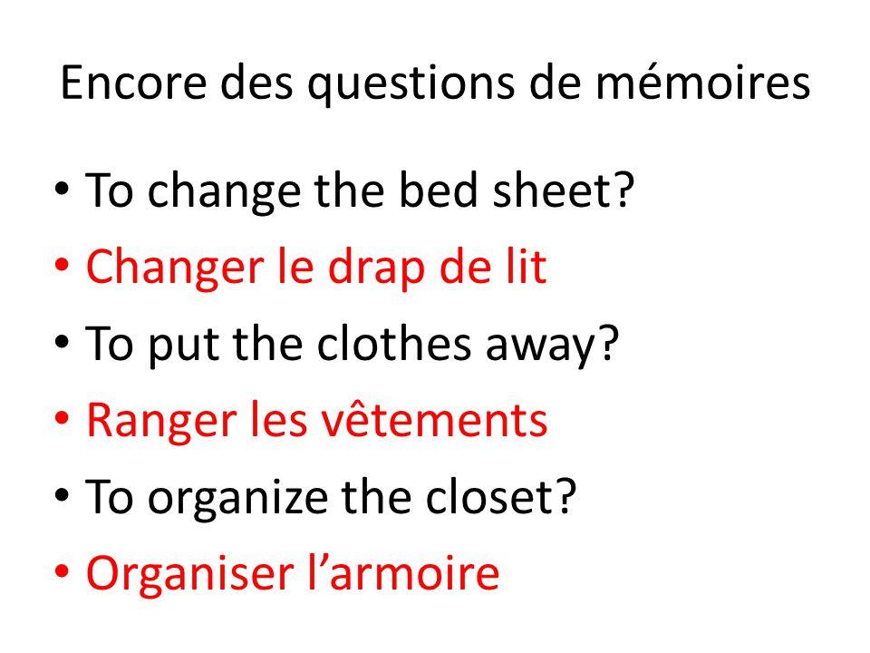 Encore des questions de mémoires