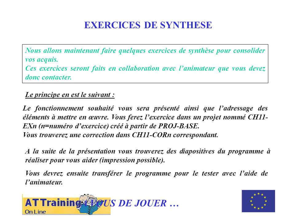 ROLE DES DIFFERENTS ELEMENTS EXERCICES DE SYNTHESE