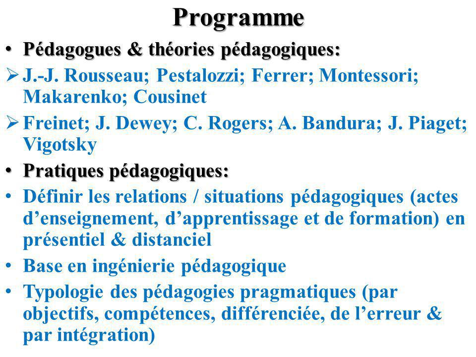 Programme Pédagogues & théories pédagogiques: