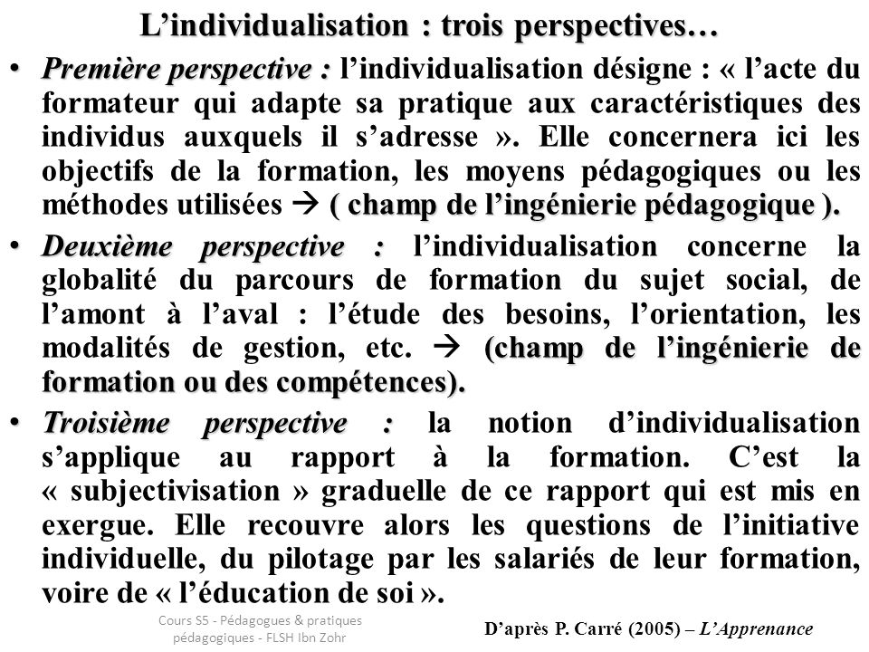 L'individualisation : trois perspectives…