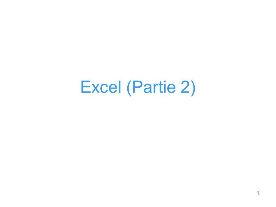 Excel (Partie 2)