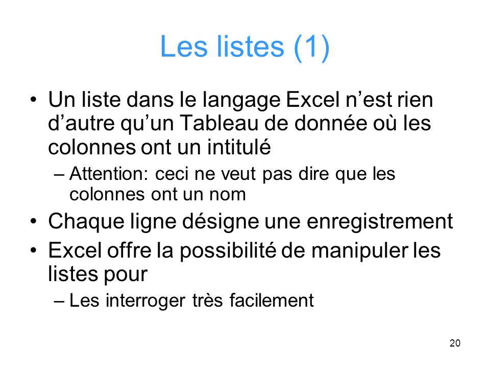 Les listes (1) Un liste dans le langage Excel n'est rien d'autre qu'un Tableau de donnée où les colonnes ont un intitulé.
