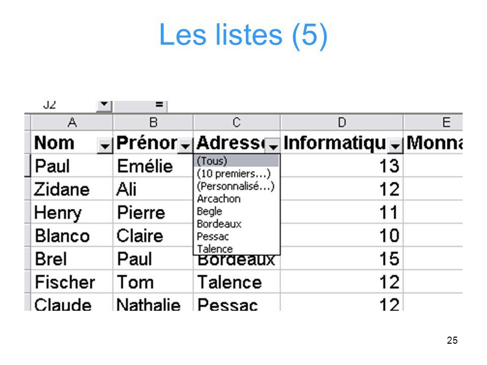 Les listes (5)