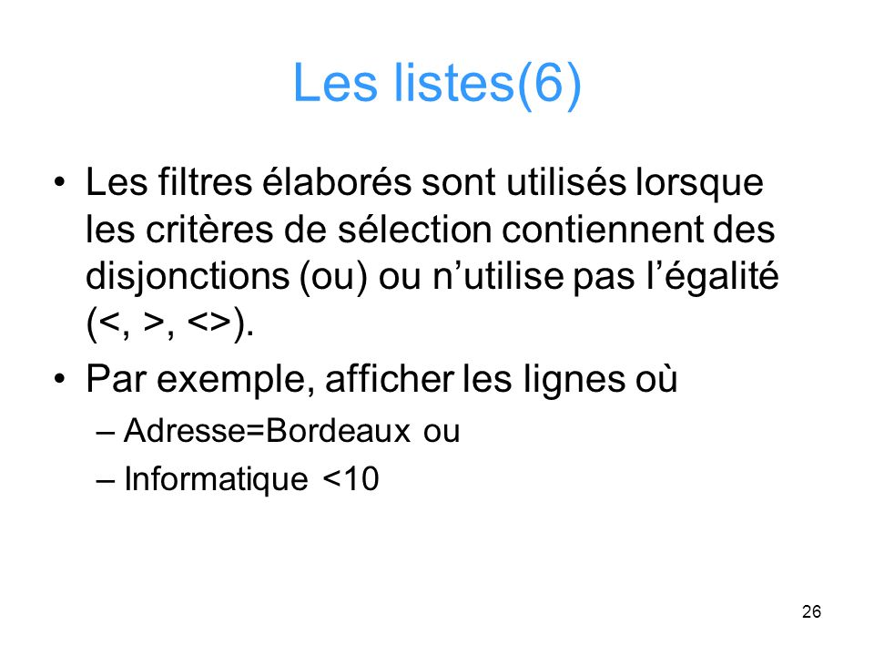 Les listes(6)