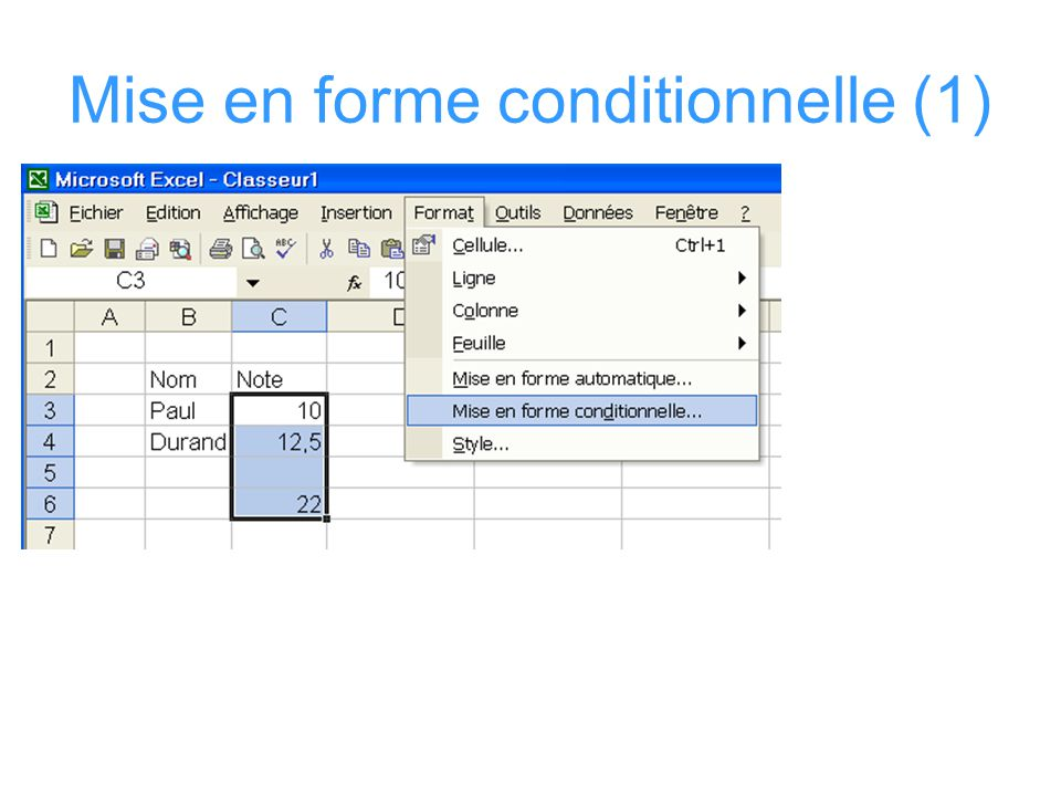 Mise en forme conditionnelle (1)
