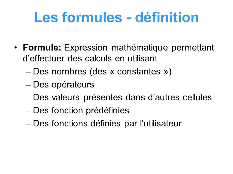Les formules - définition