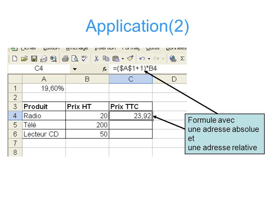 Application(2) Formule avec une adresse absolue et