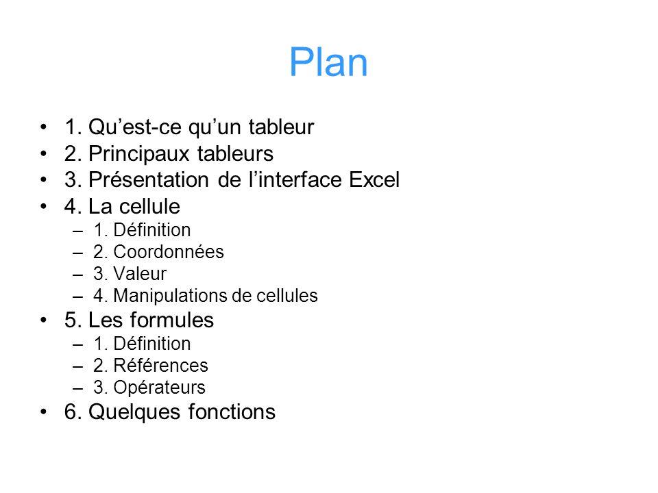 Plan 1. Qu'est-ce qu'un tableur 2. Principaux tableurs