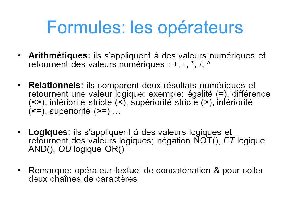 Formules: les opérateurs