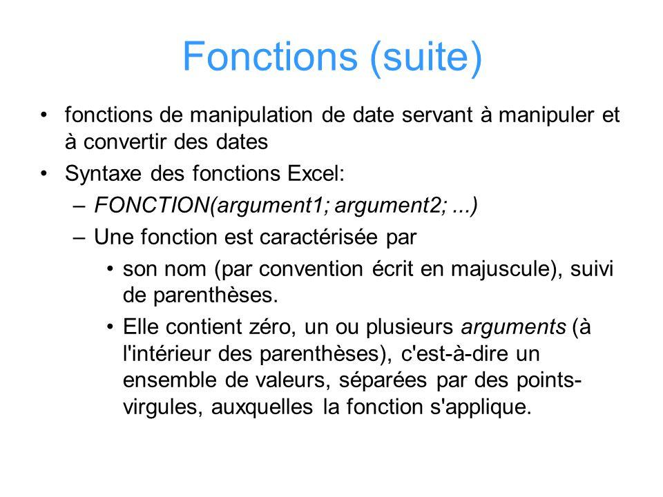 Fonctions (suite) fonctions de manipulation de date servant à manipuler et à convertir des dates. Syntaxe des fonctions Excel: