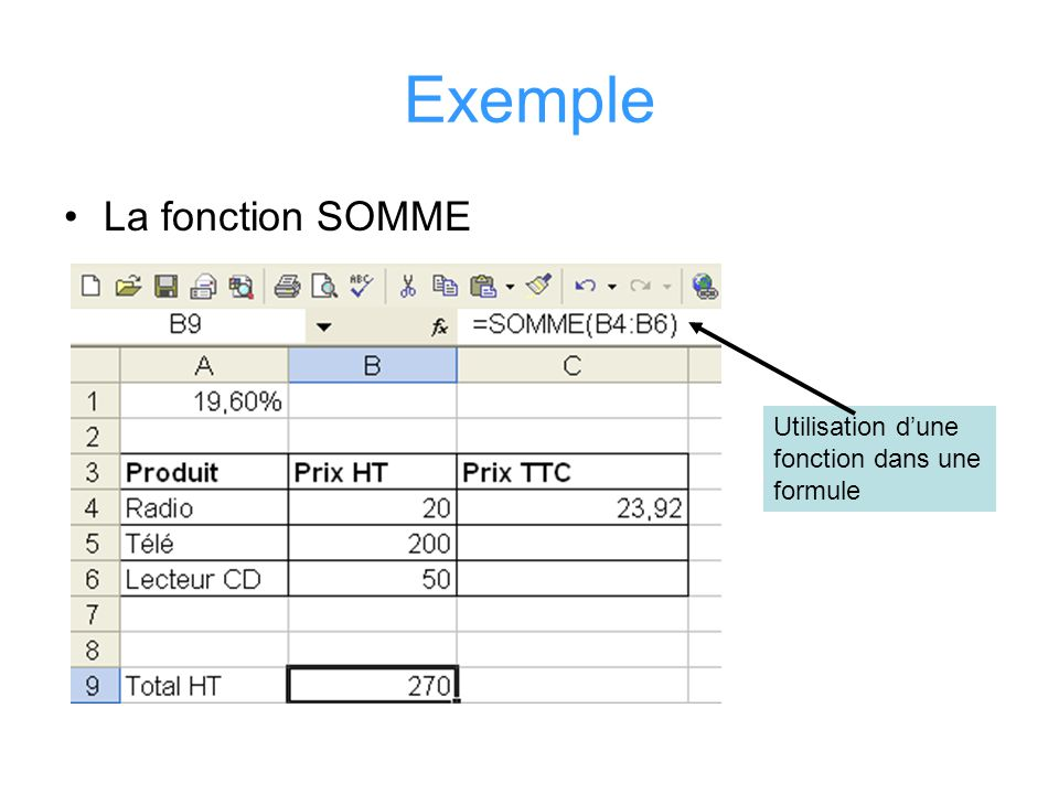 Exemple La fonction SOMME Utilisation d'une fonction dans une formule
