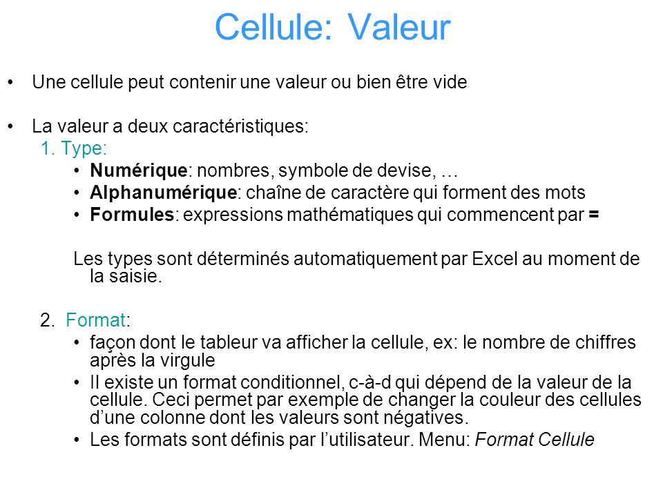 Cellule: Valeur Une cellule peut contenir une valeur ou bien être vide