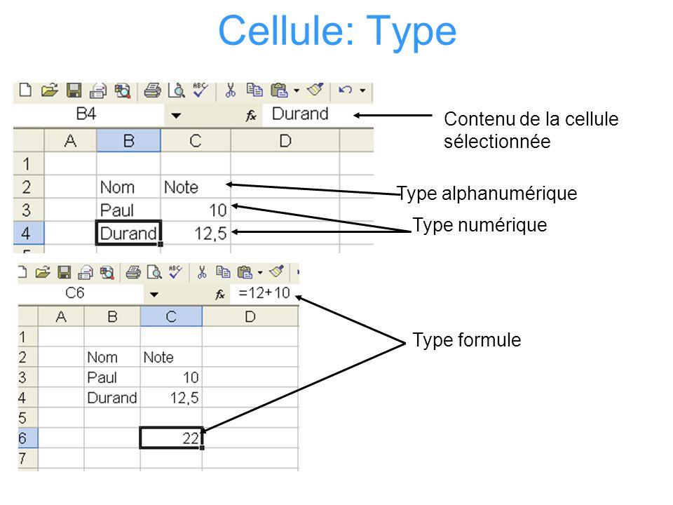 Cellule: Type Contenu de la cellule sélectionnée Type alphanumérique