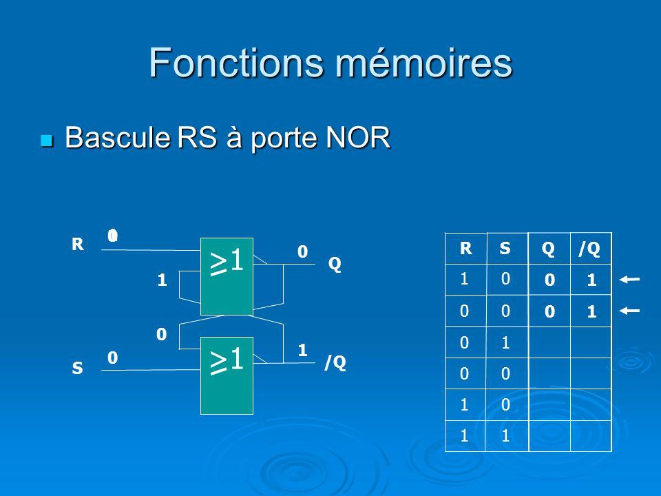 Fonctions mémoires Bascule RS à porte NOR >1 >1 1 R R S Q /Q Q 1
