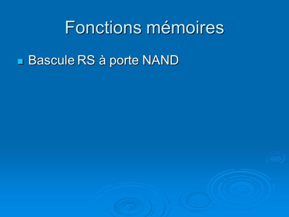 Fonctions mémoires Bascule RS à porte NAND