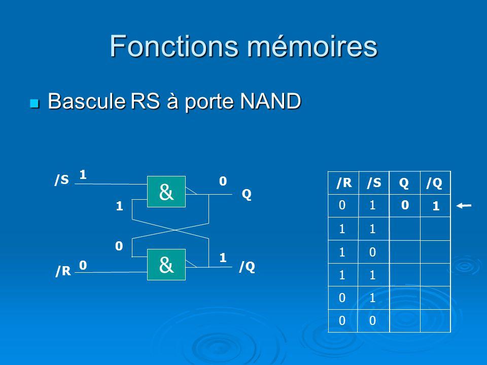 Fonctions mémoires Bascule RS à porte NAND & & 1 /S /R /S Q /Q Q 1 1 1