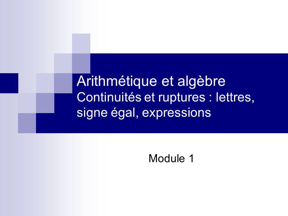 Arithmétique et algèbre Continuités et ruptures : lettres, signe égal, expressions