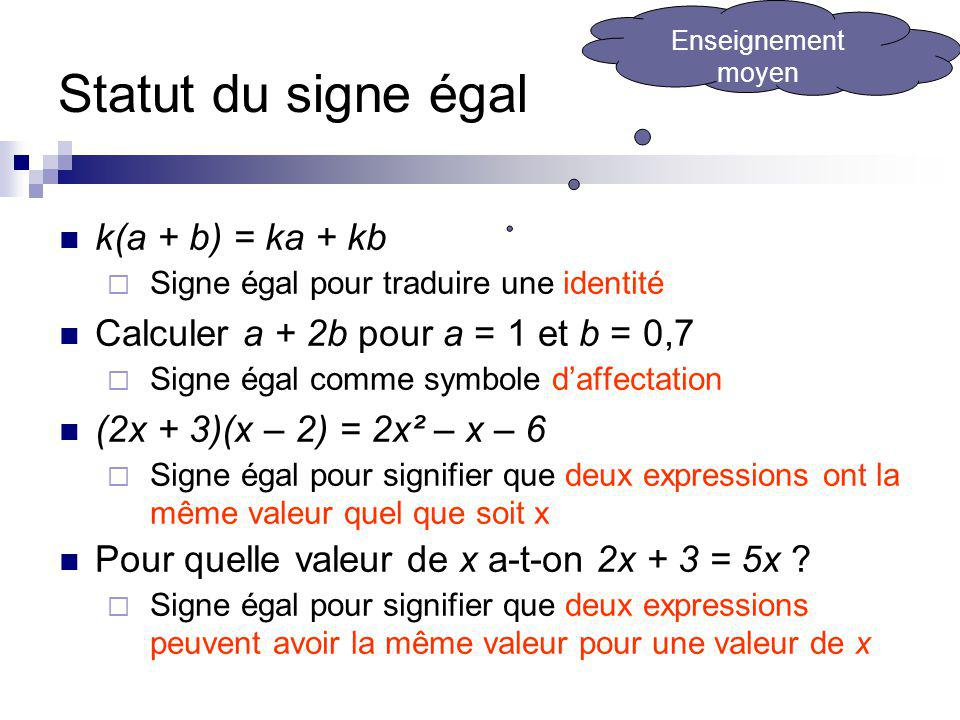 Statut du signe égal k(a + b) = ka + kb