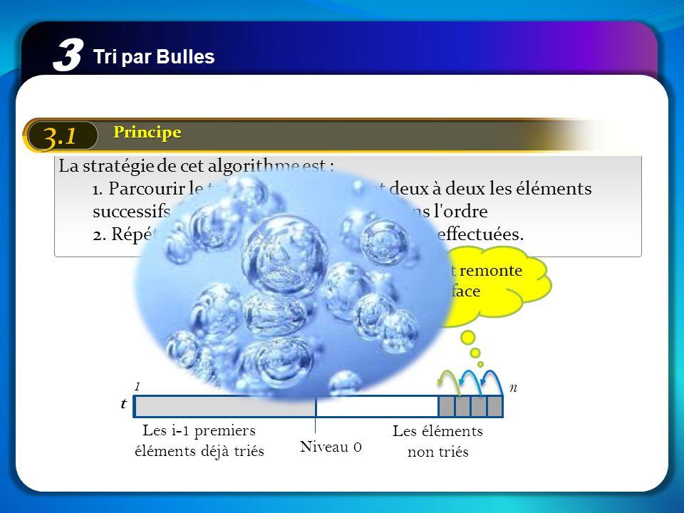 3 3.1 Tri par Bulles La stratégie de cet algorithme est :