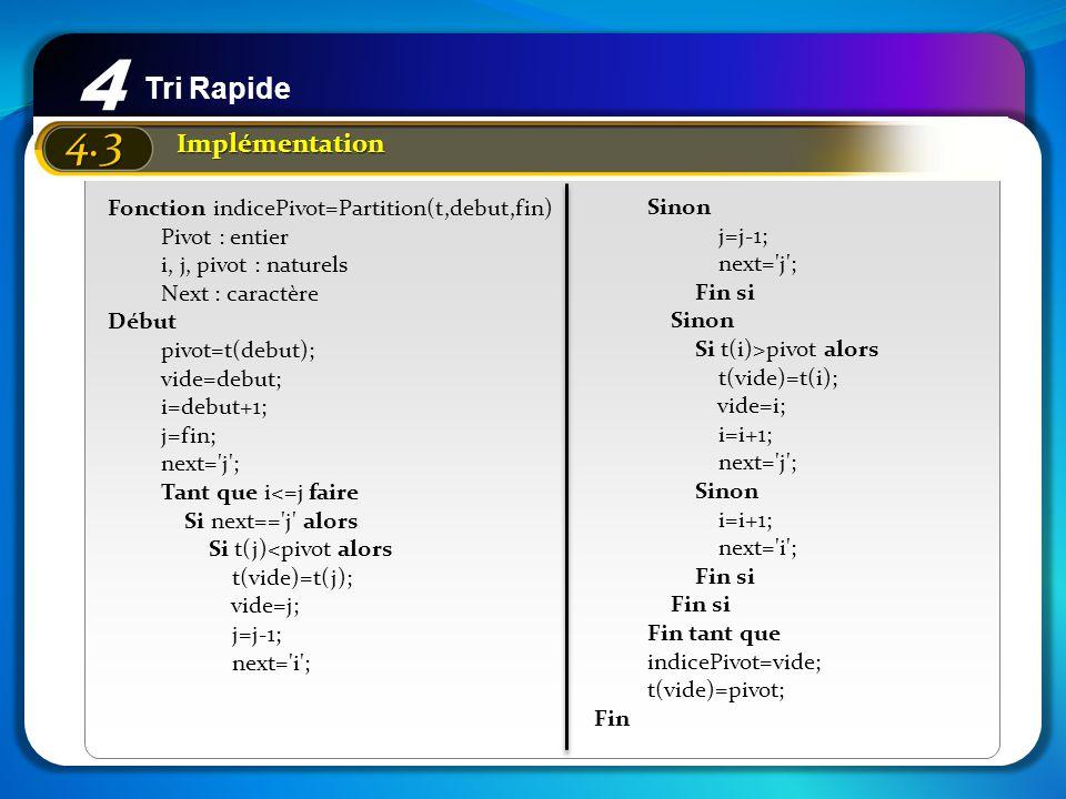 4 4.3 Tri Rapide Implémentation