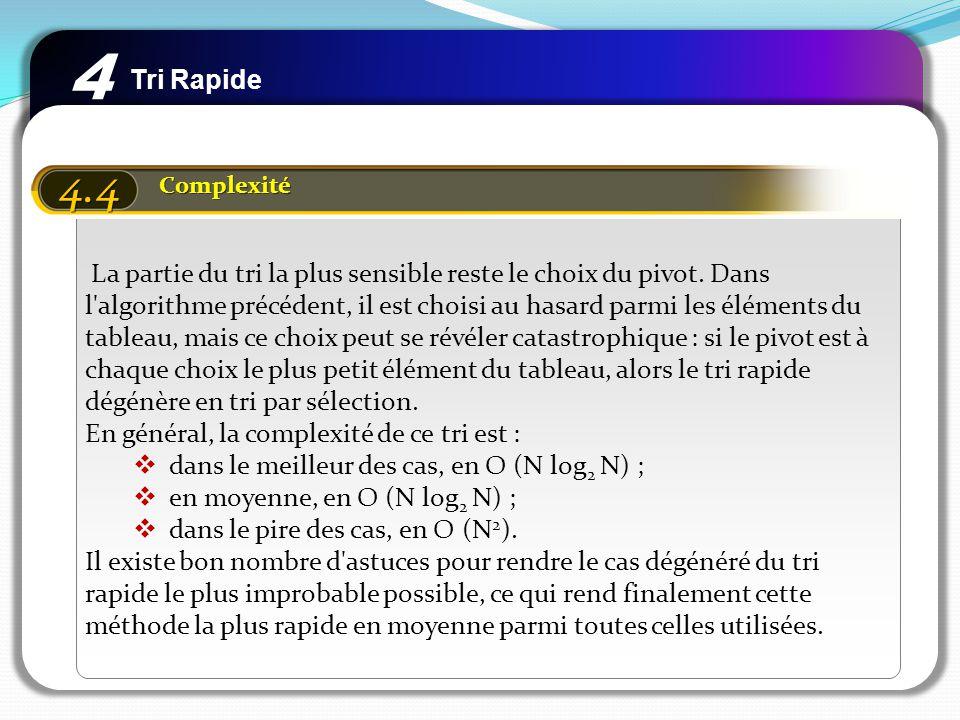 4 Tri Rapide. 4.4. Complexité.
