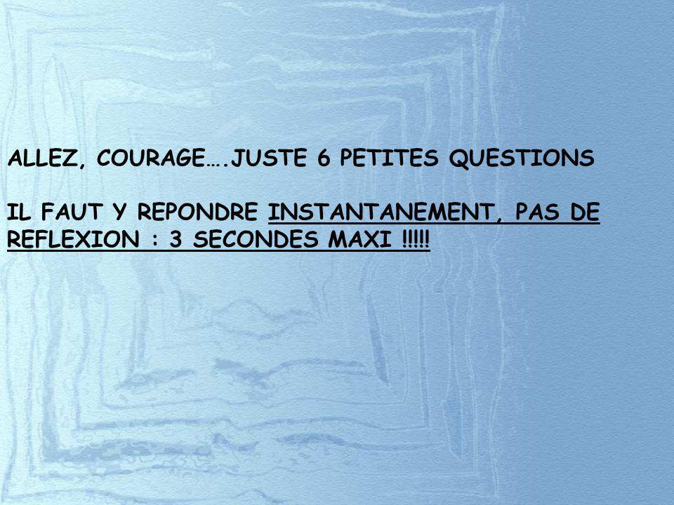 ALLEZ, COURAGE….JUSTE 6 PETITES QUESTIONS