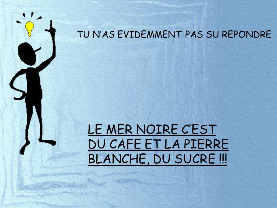 LE MER NOIRE C'EST DU CAFE ET LA PIERRE BLANCHE, DU SUCRE !!!