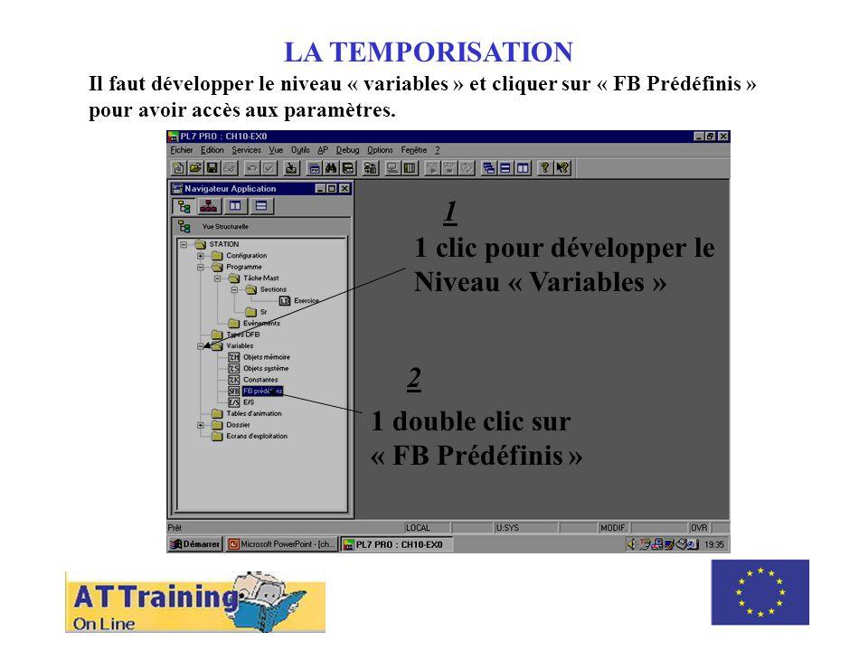 1 clic pour développer le Niveau « Variables »