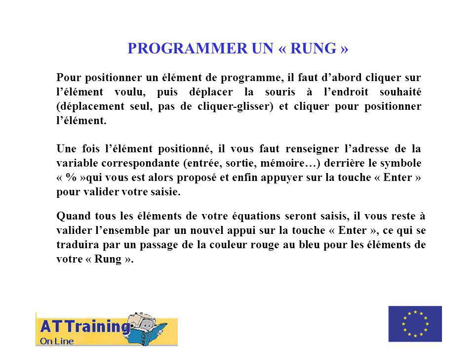 ROLE DES DIFFERENTS ELEMENTS PROGRAMMER UN « RUNG »