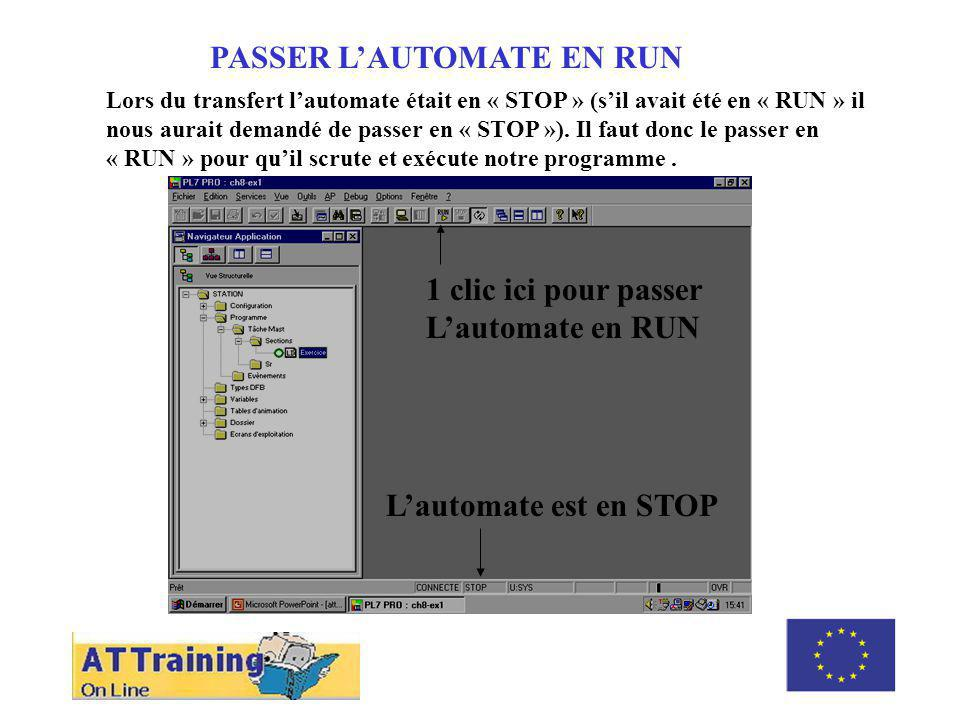 PASSER L'AUTOMATE EN RUN ROLE DES DIFFERENTS ELEMENTS