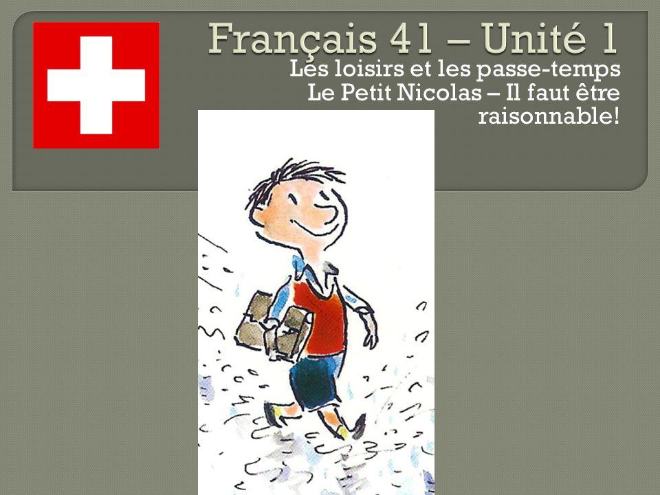 Français 41 – Unité 1 Les loisirs et les passe-temps