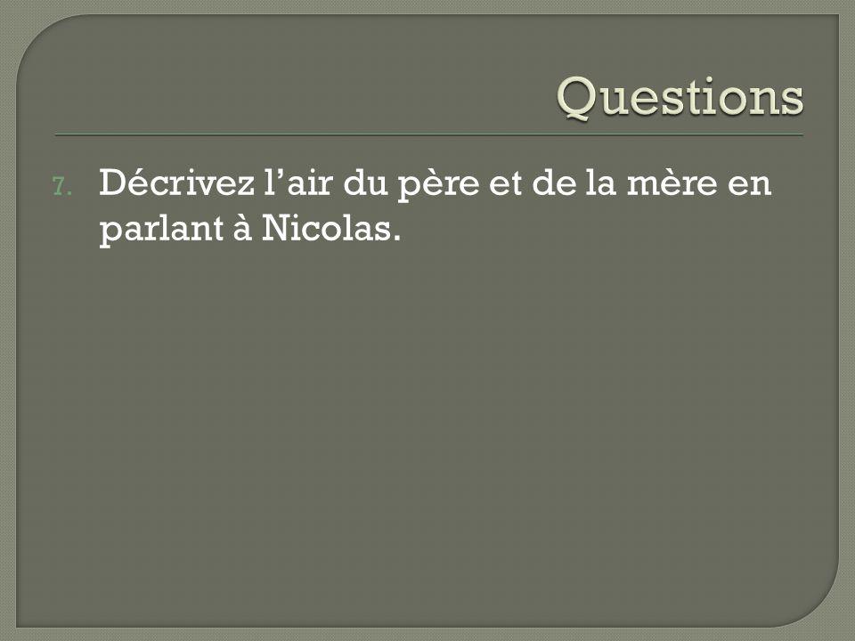 Questions Décrivez l'air du père et de la mère en parlant à Nicolas.