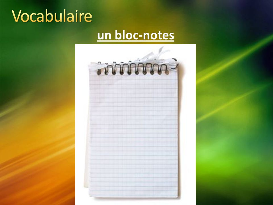 Vocabulaire un bloc-notes