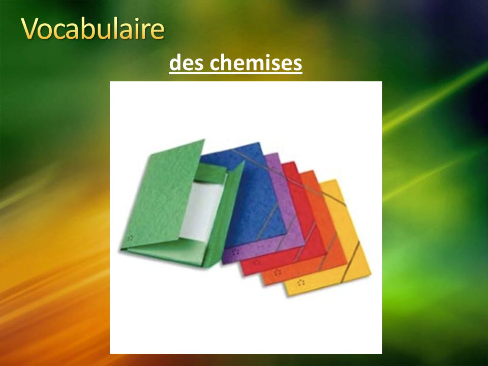 Vocabulaire des chemises