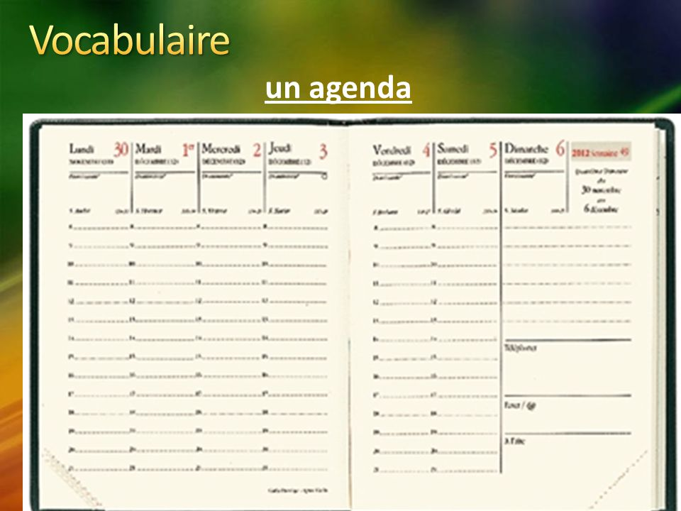 Vocabulaire un agenda