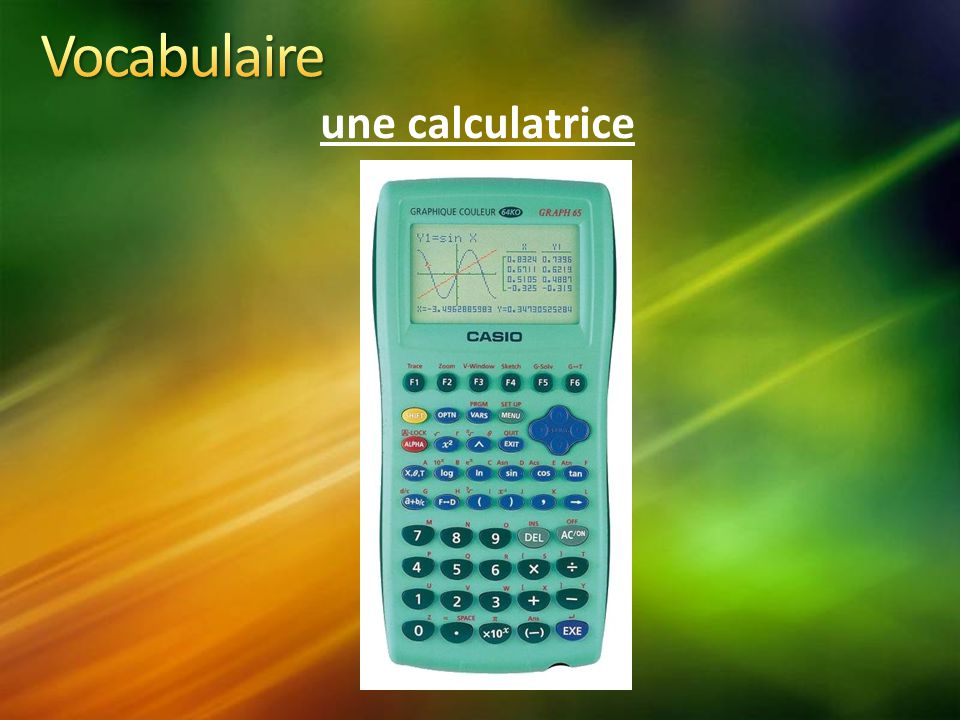 Vocabulaire une calculatrice