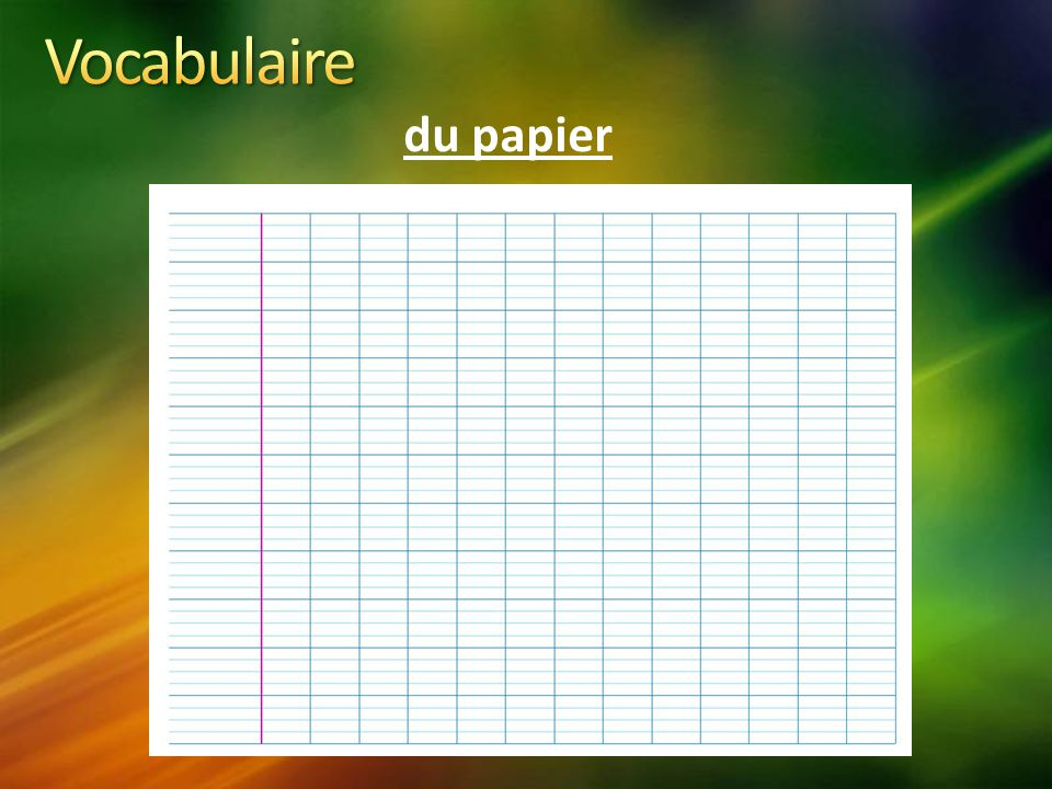 Vocabulaire du papier