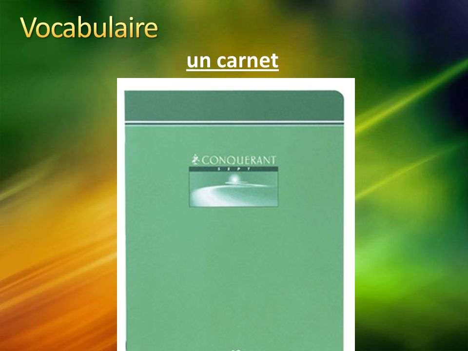 Vocabulaire un carnet
