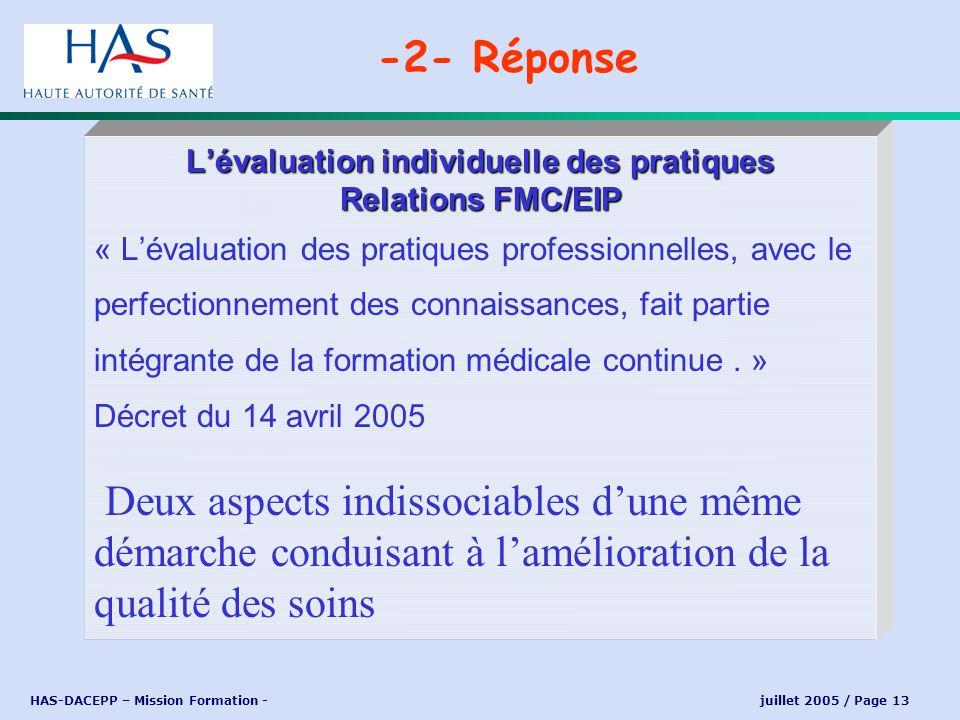 L'évaluation individuelle des pratiques