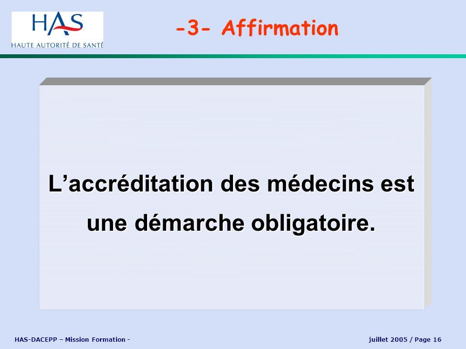 L'accréditation des médecins est une démarche obligatoire.