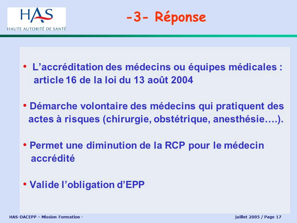 -3- Réponse L'accréditation des médecins ou équipes médicales :