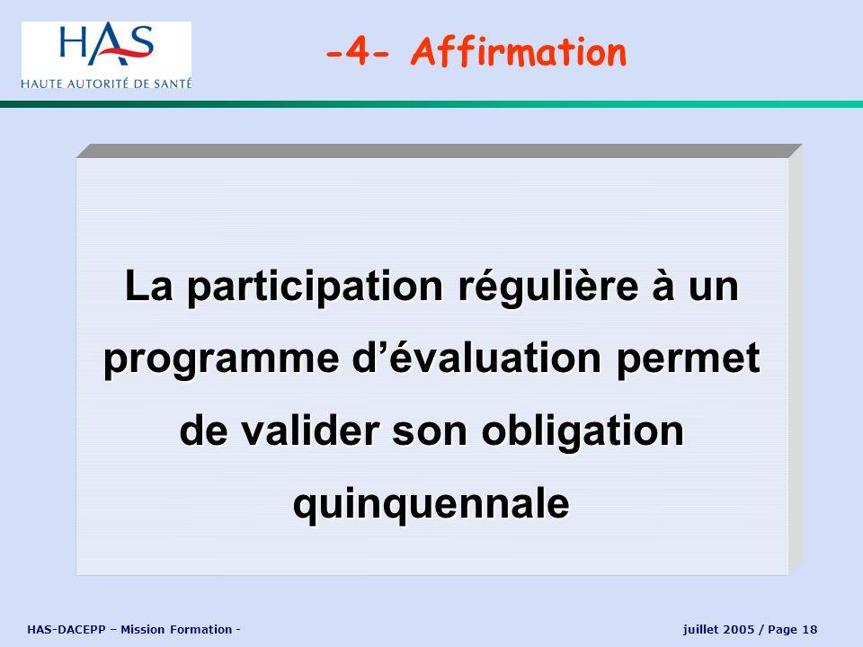 -4- Affirmation La participation régulière à un programme d'évaluation permet de valider son obligation quinquennale.
