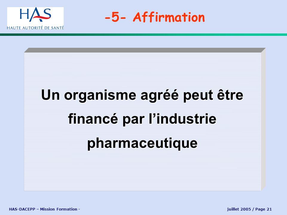 Un organisme agréé peut être financé par l'industrie pharmaceutique