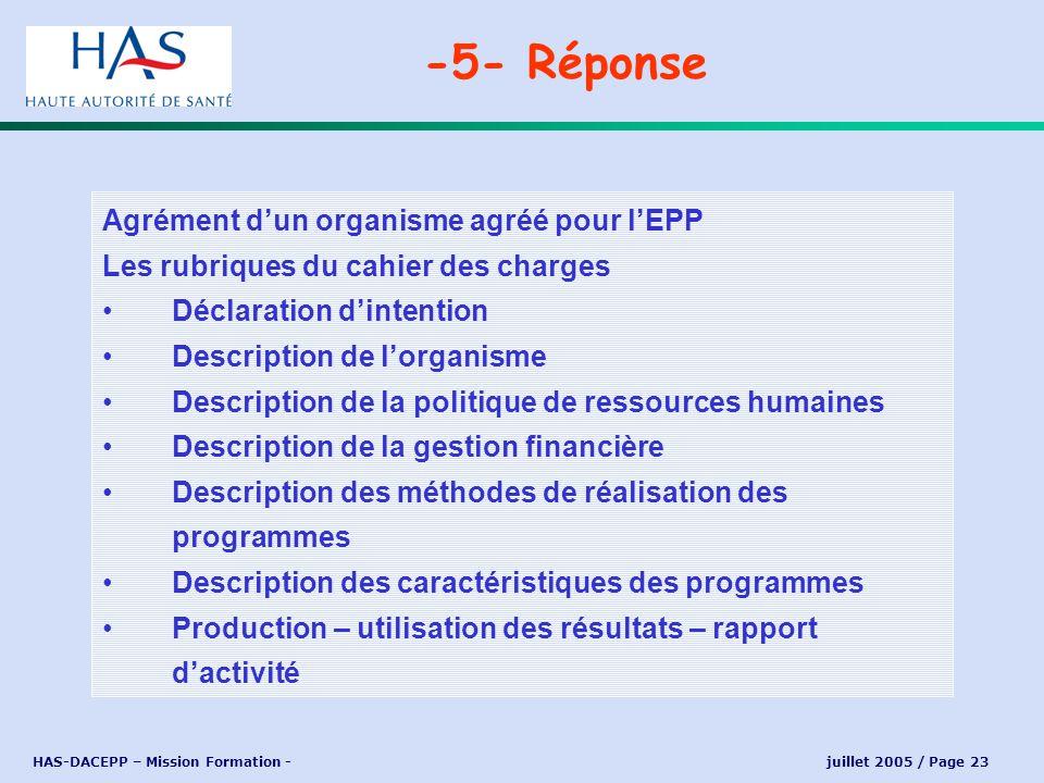 -5- Réponse Agrément d'un organisme agréé pour l'EPP