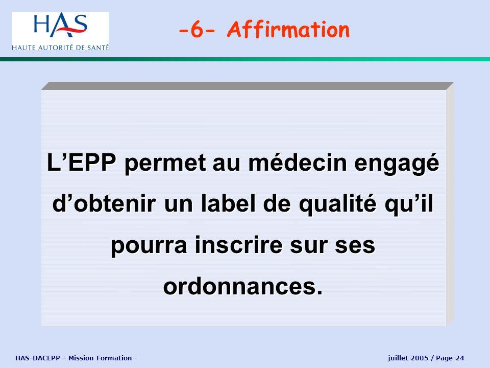 -6- Affirmation L'EPP permet au médecin engagé d'obtenir un label de qualité qu'il pourra inscrire sur ses ordonnances.
