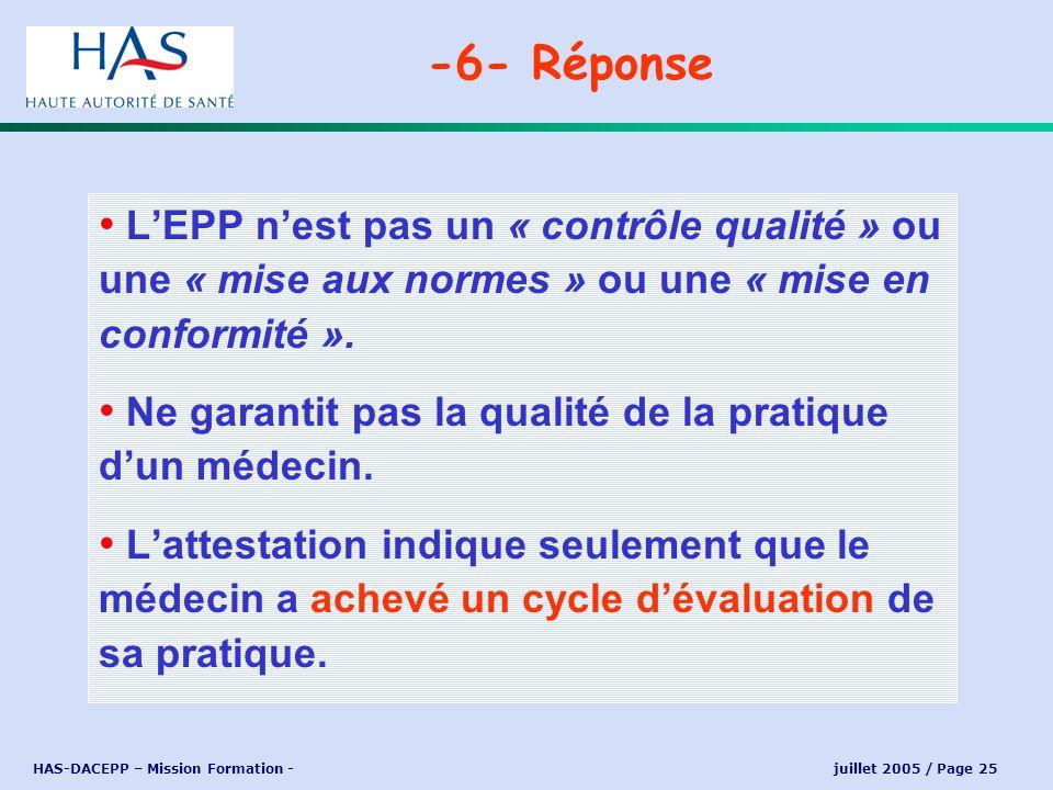 -6- Réponse L'EPP n'est pas un « contrôle qualité » ou une « mise aux normes » ou une « mise en conformité ».