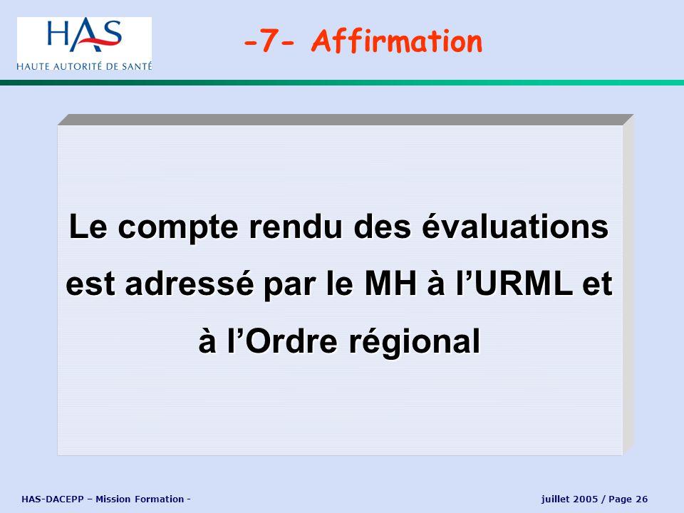 -7- Affirmation Le compte rendu des évaluations est adressé par le MH à l'URML et à l'Ordre régional.