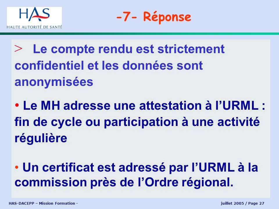 -7- Réponse Le compte rendu est strictement confidentiel et les données sont anonymisées.