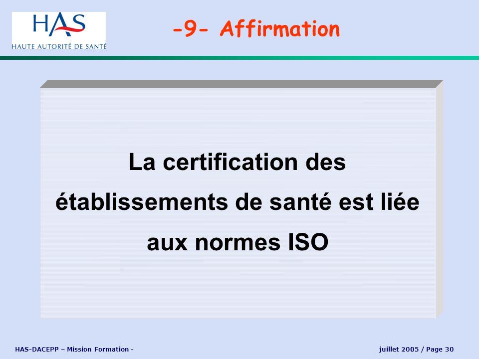 La certification des établissements de santé est liée aux normes ISO